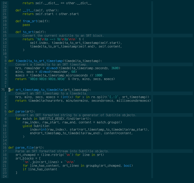Vim screenshot with docstrings folded